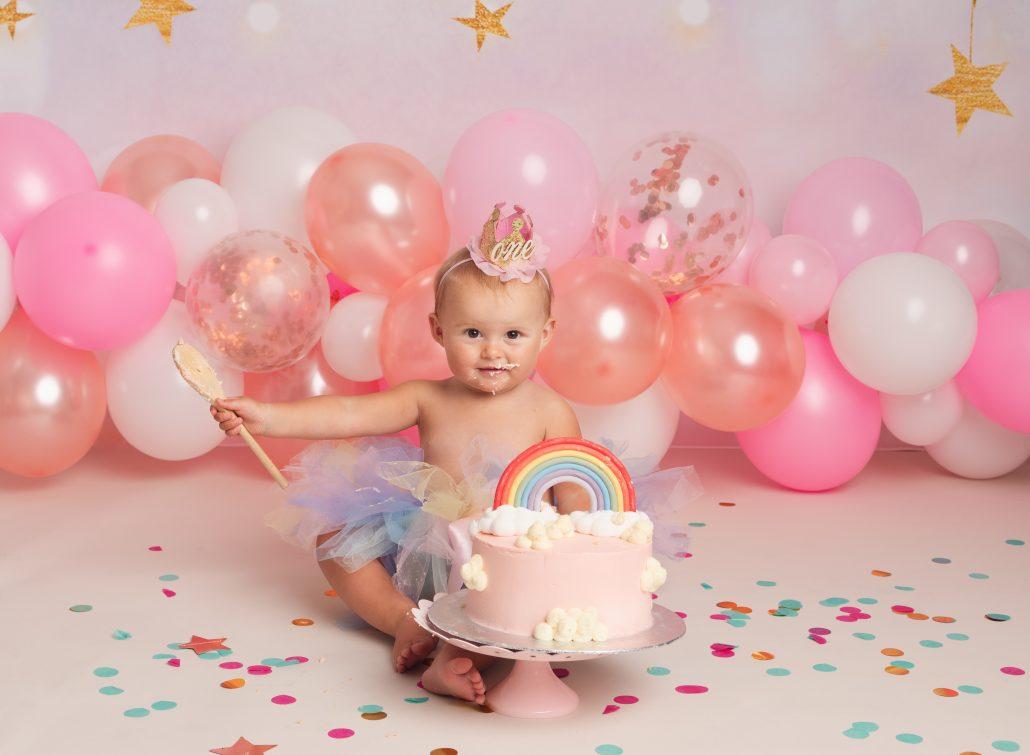 Cake smash child baby photoshoot fun in Sunderland Tyne and Wear North East